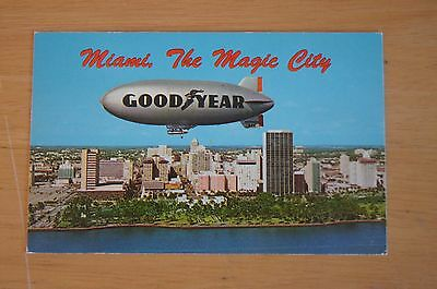 Vintage Photograph Postcard GOODYEAR Blimp Tyre Company The Magic City C1970'S