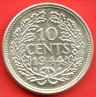 1944 Netherlands 10 Cent Coin ( 1.4 Grams .640 Silver )