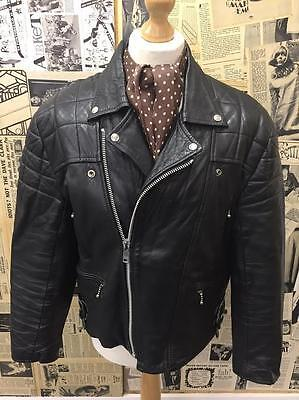 Vintage 1960s Biker Jacket Black Leather Padded Rocker FOAD Customised Size L
