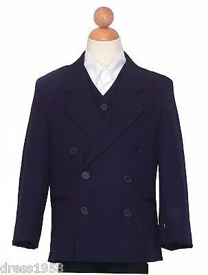 Boys Double Breasted Recital, Party Graduations Suit, Navy Blue Sz:18 (18 years)