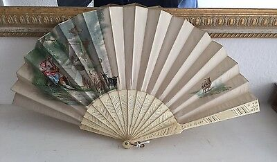 "Antique Fan c1890 ""Shepherdess with Flock"" painted on Silk by J. Dudley"
