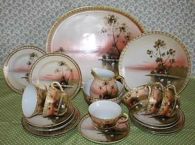 L&Co Nippon / Shofu Japanese Hand Painted and Gilded Tea Set for Six c.1940's