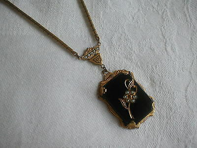 Antique Victorian Mourning Pendant Necklace  gold black & seed pearl