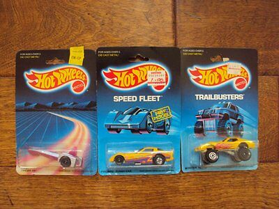 Lot of 3 RARE VINTAGE ERROR Hot Wheels, Carded 1986-1988