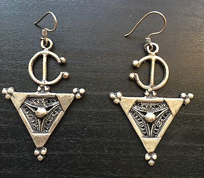 Vintage Pewter Moroccan Earrings With Silver Earwires