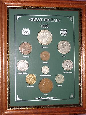 FRAMED 1938 GB GREAT BRITISH COIN YEAR SET (VINTAGE 79th BIRTHDAY PRESENT GIFT)