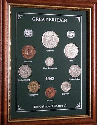 FRAMED 1943 COIN YEAR SET (RETRO 74th BIRTHDAY PRESENT WEDDING ANNIVERSARY GIFT)
