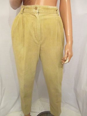 VINTAGE ST MICHAEL UK:10 HIGH WAIST TAPERED CORDUROY MOM TROUSERS 26in LEG
