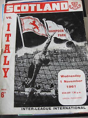 1.11.1961 Scotland v Italy Inter-League International @ Hampden Park
