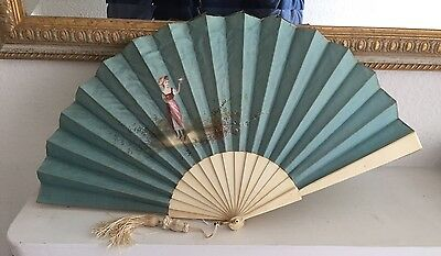 Victorian Silk Fan c1880, Hand Painted