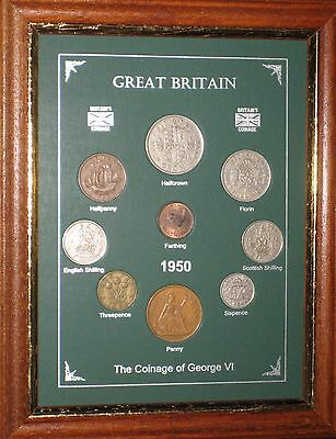 FRAMED 1950 COIN YEAR SET (RETRO 67th BIRTHDAY PRESENT WEDDING ANNIVERSARY GIFT)