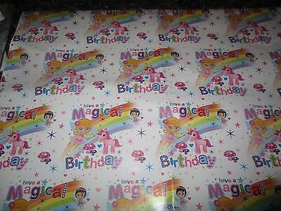 2 Sheets Magical Birthday Wrapping Paper Unicorn Fairys Toadstools Gift Wrap