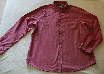 TOPMAN Twill Cotton Mens Burgundy Red Long Sleeved Casual Shirt size XL
