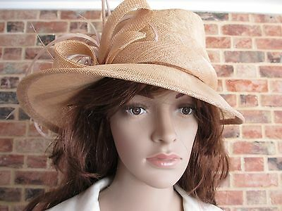 BHS Formal Beige Hat with Feather and Bow Detail Wedding Races