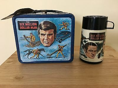 Vintage 1974 Aladdin Six Million Dollar Man Lunch Box With Thermos And Tag