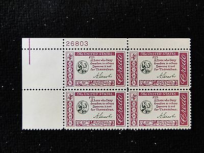 # 1143 Credo-Abraham Lincoln (UL) Plate Block of 4 Mint NH free shipping