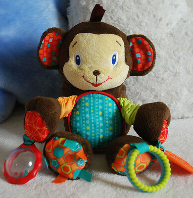 """BRIGHT STARTS Cute Friendly Monkey Baby Comforter Educational Soft Toy 10"""""""