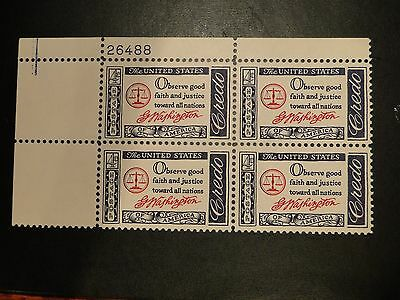 Scott # 1139 - Plate Block of 4 - Mint N H  Credo Washington (UL) free shipping