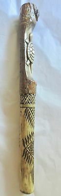 Turtle w/4direction symbol- chip carved Talking Stick, by Erik Sappier Penobscot