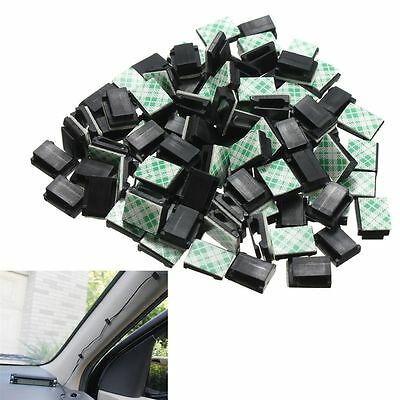 30Pcs Wire Clip Black Car Tie Rectangle Cable Holder Mount Clamp adhesive