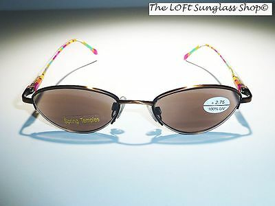 Cute Womens colorful frame shaded reading glasses with spring hinges +3.00