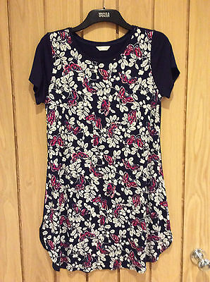 Marks & Spencer Navy Floral Print Minishirt Short Sleeve Size 12 New