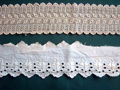 # Vintage Lace - 2 Pieces - Broderie Anglaise - Hand Embroidery  [D7]