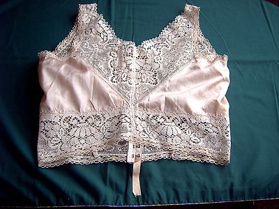 # Vintage Camisole - Peach Satin - Cream Lace Trim - Gossard 2407 38 [C]