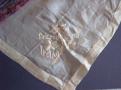 """ Vintage Handkerchief - 'present From Ireland' - Hand Embroidery - Cream Silk"