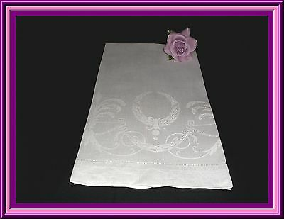 Gorgeous Antique Irish Linen Damask Towel With Great Design & Condition 37 Ins