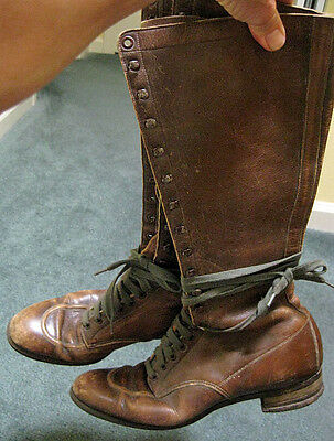 Antique Pair of Brown Leather VICTORIAN LACE-UP BOOTS Women's Size 7.5 Medium
