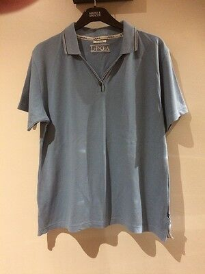 Ladies LPGA Golf Top Blue Large Cotton With Stretch.