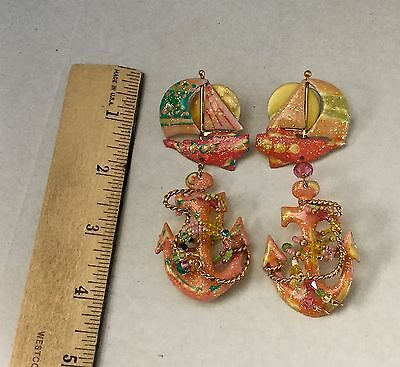 """Vintage Lunch At The Ritz Earrings  """"anchors Away"""" Signed-Dated 1986"""