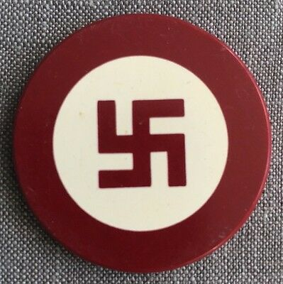 Vintage RED Clay Poker Chip Antique GOOD LUCK Swastika / Swaztika Pre-WWII 1930s