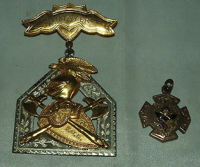 2 Knights of Pythias Medals, Rutherford Lodge #150, Silver, Dated & Named 1913