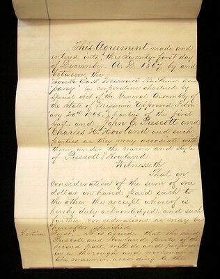 1867 ST LOUIS IRON MOUNTAIN RAILWAY Railroad Expansion Contract-MISSOURI PACIFIC