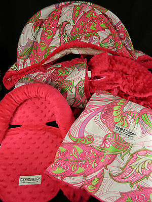 Carseat Canopy 5 Piece Complete Car Seat Set Pink Paisley Excellent Condition