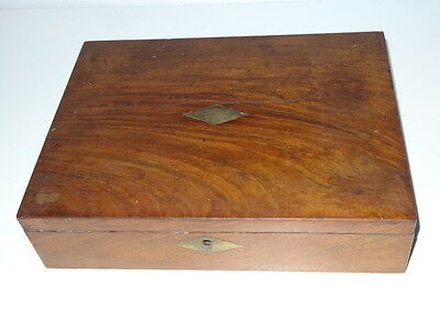 Antique Walnut Writing Drawing Box With Brass Cartouche