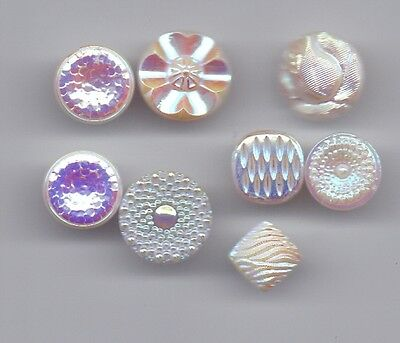 8 iridescent vintage buttons - white glass