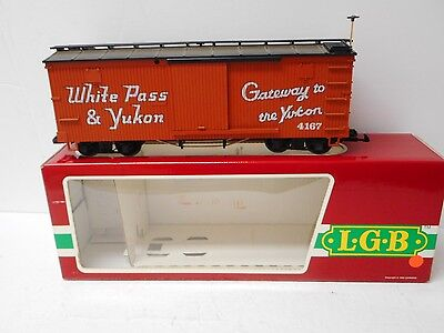 LGB 4167 WHITE PASS & YUKON SLIDING DOOR BOX CAR G Scale