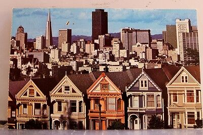 California CA San Francisco Skyline Victorian Homes Postcard Old Vintage Card PC