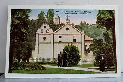 California CA Los Angeles Mission Church Plaza Postcard Old Vintage Card View PC