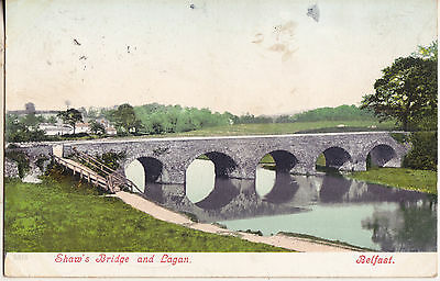 SHAW'S BRIDGE AND LAGAN BELFAST 1905 USED POSTCARD 5515+ON THE RIVER LAGAN 1910s