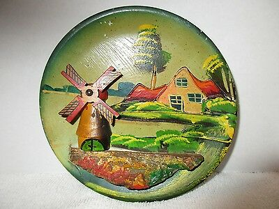 Vintage Holland Village Wooden Wall Hanging Plate Plaque Hand Painted Windmill