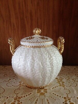 Antique RS Prussia Dew Drops Potpourri Jar Covered Bowl Unmarked