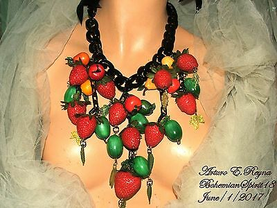 Arturo E.reyna Fruit Salad Strawberry Vintage Lucite Grapes Charms Bib Necklace