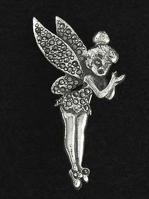c.1950 - DISNEY TINKER BELL FAIRY STERLING SILVER & MARCASITES PIN / BROOCH
