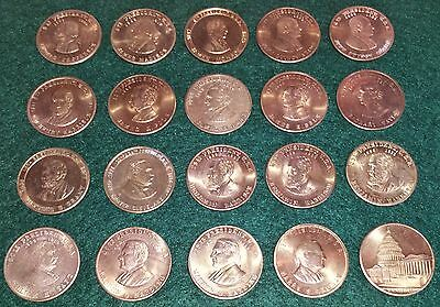 "USA "" PRESIDENTS "" 20x Coin Tokens (25 mm Diameter Ea) See Description"