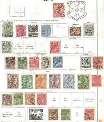 28 Malta Stamps from Quality Old Album 1860-1928
