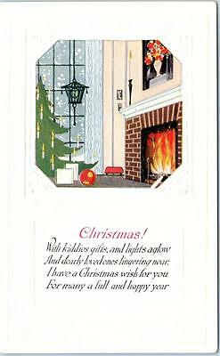 Arts & Crafts Style  Embossed  CHRISTMAS Verse  ca 1910s  Postcard